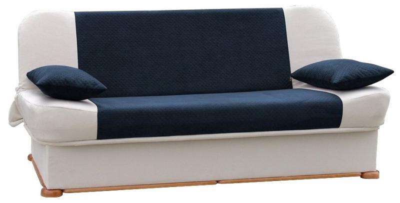 Καναπές Κρεβάτι Λευκό Μπλε Σκούρο No 56831